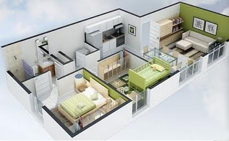 Planos 3d for Planos casa minimalista 3d