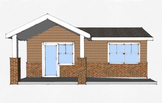 Plano de casa peque a de 45 metros cuadrados for Disenos de casas pequenas para construir