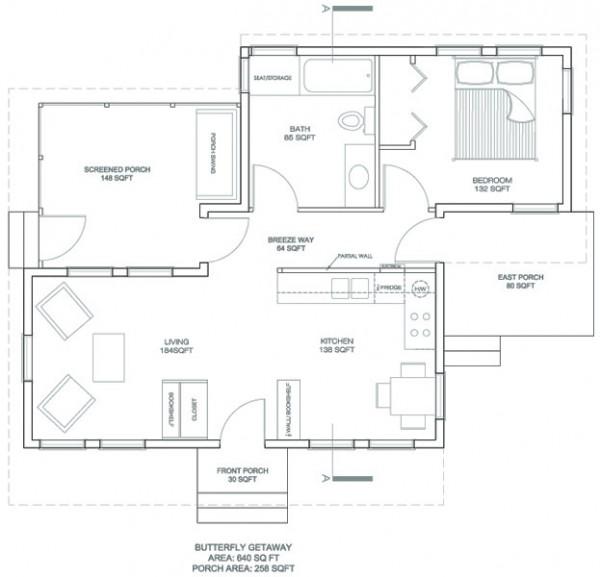 Plano de casa peque a de 60 metros cuadrados for Planos de oficinas pequenas