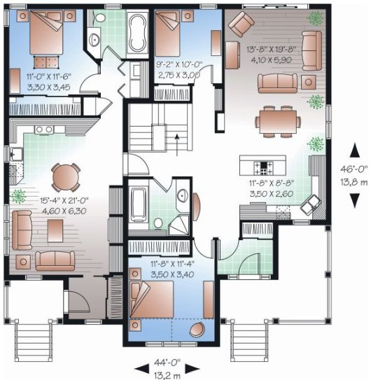 Banos con pileta doble for Planos planos de casas