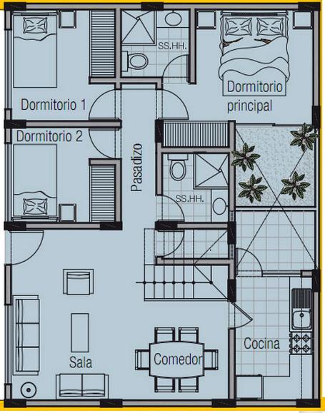 Planos de casa de 8x10 metros for Modelo de fachadas de viviendas