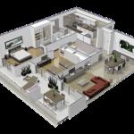 Diseño tridimensional departamento 2 ambientes