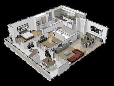 Dise o tridimensional departamento 2 ambientes for Disenos de departamentos minimalistas