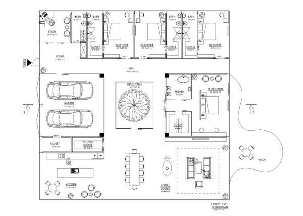 Croquis a color de cuatro abitaciones for Distribucion oficinas pequenas