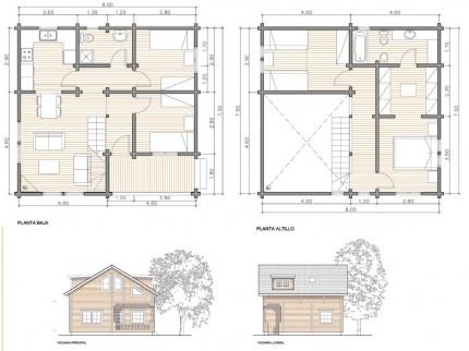 Dibujo de casas de madera planos de casas - Cuanto cuesta hacer una casa de dos plantas ...