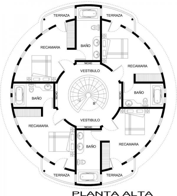Plano casa circular planta alta