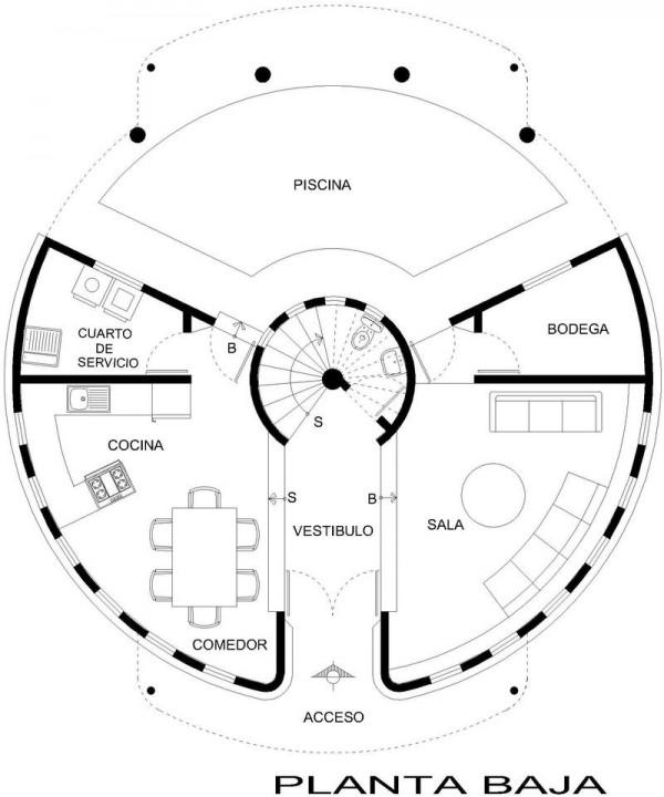 Plano casa circular planta baja