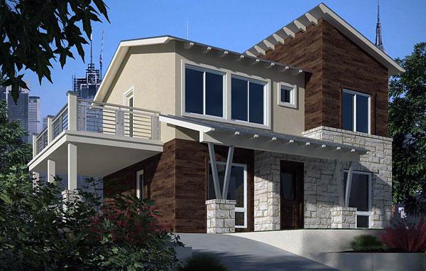 fotos de fachadas de casas comunesde dos niveles planos