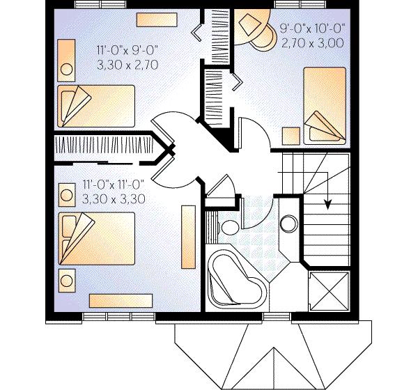Casa pequeña de 2 pisos y 3 habitaciones | Planos de Casas