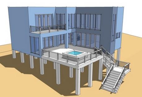 Fachadas con escaleras planos de casas for Escaleras por fuera de la casa