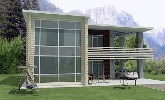 Casa ecol gica de madera for Casas con terraza al frente