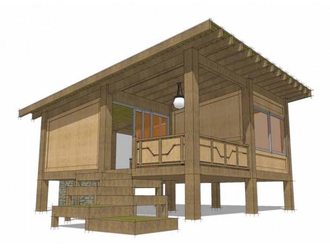Fachada de cabaña oriental