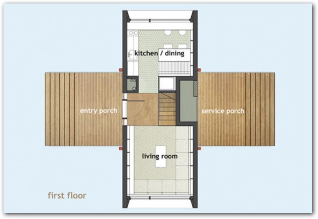 Plano de casa con paneles solares y dos pisos