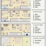 Plano de 3 departamentos en un terreno pequeño