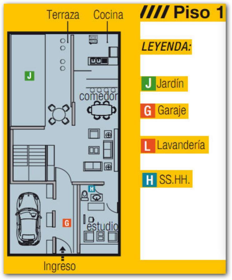 Vivienda de 3 pisos Primera planta