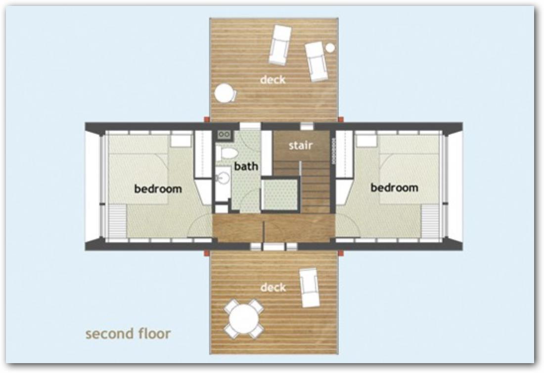Plano de casa con celdas solares y dos pisos
