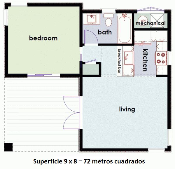 plano casa invitados de 1 dormitorio