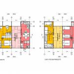 Plano de dos casas hechas con containers