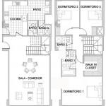 Plano de departamento duplex de tres dormitorios