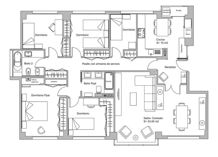 plano casa de 5 habitaciones