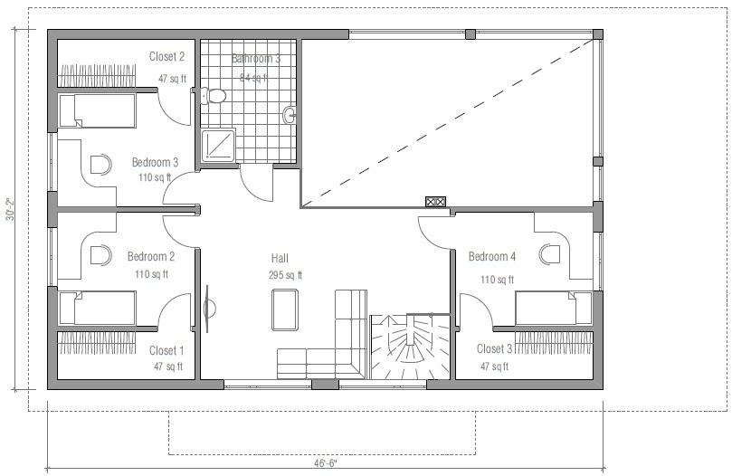 4 dormitorios en planta alta for Plano de casa quinta moderna