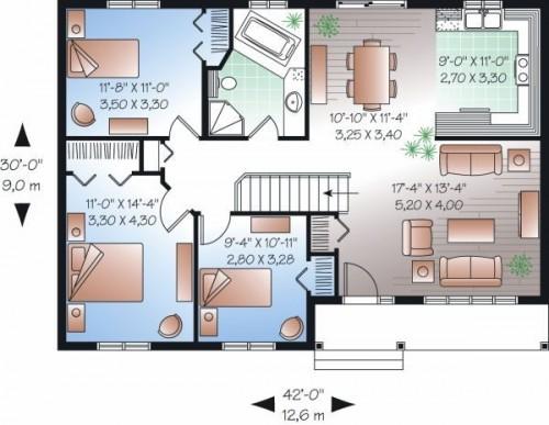 Casa de tres dormitorios - Plano casa una planta ...