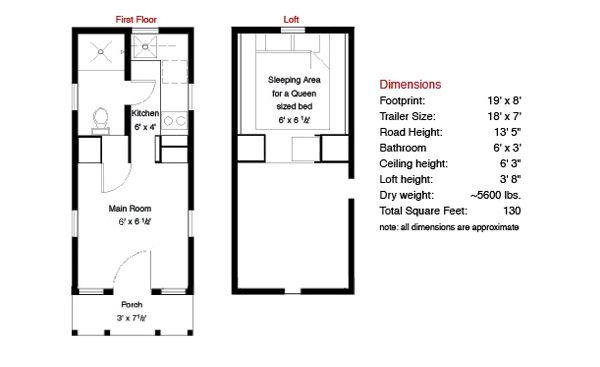 planos casa de madera sobre remolque