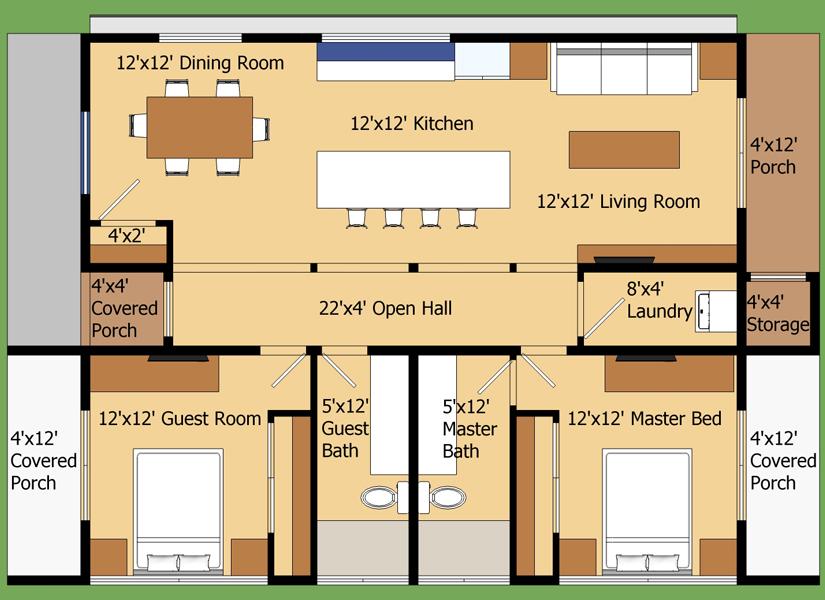 Plano de casa moderna en 90 metros cuadrados for Oficinas modernas planos