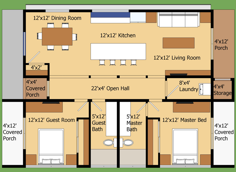 Plano de casa moderna en 90 metros cuadrados for Planos de viviendas modernas