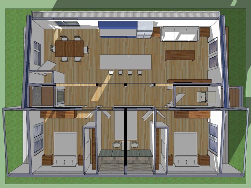 Plano de casa moderna en 90 metros cuadrados for Planos de casas medianas
