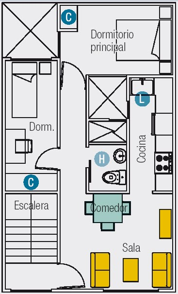 planos dpto 6mx10m primer piso 2 dormitorios