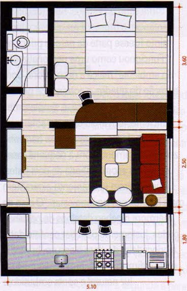 Baño Con Antebaño Medidas:Planos De Casas Pequenas