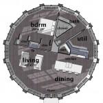 Plano de casa circular en madera