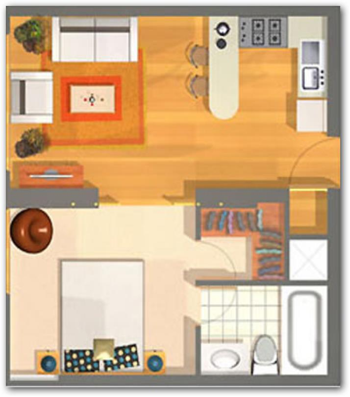 Plano para departamento de 40 metros cuadrados for Modelos de departamentos pequenos para construir