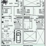 Plano de casa con dos plantas y terraza