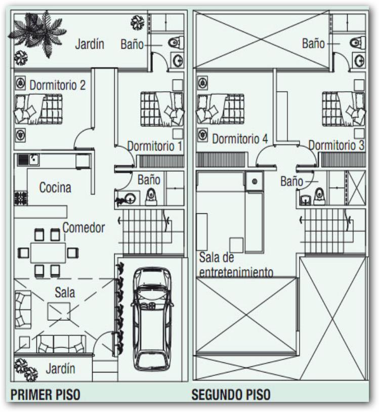 Plano de casa con dos plantas y terraza for Se puede dividir un piso en dos