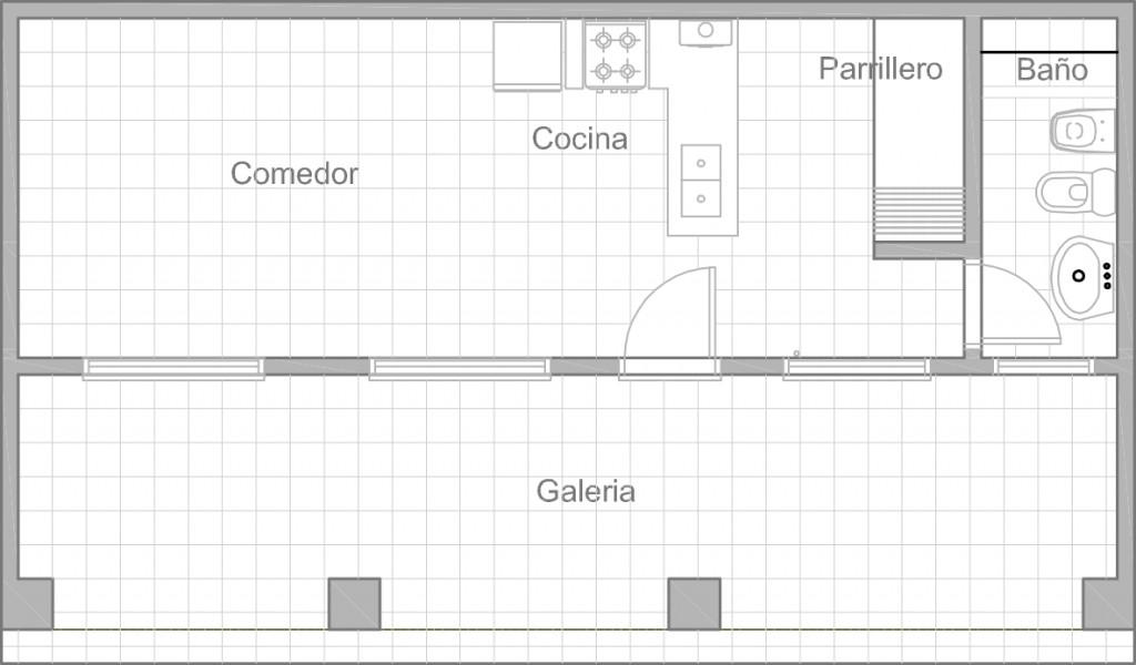 Plano de quincho moderno