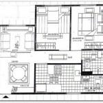 Plano de vivienda unifamiliar de dos dormitorios