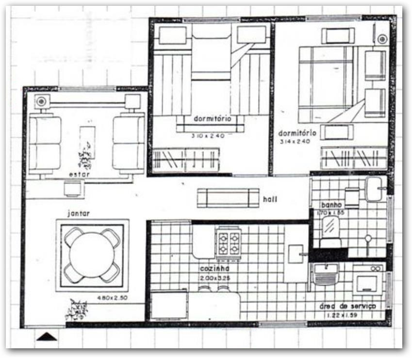 Plano de vivienda unifamiliar con patio interno medidas for Planos casas unifamiliares