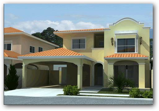 casa moderna con fachada colonial