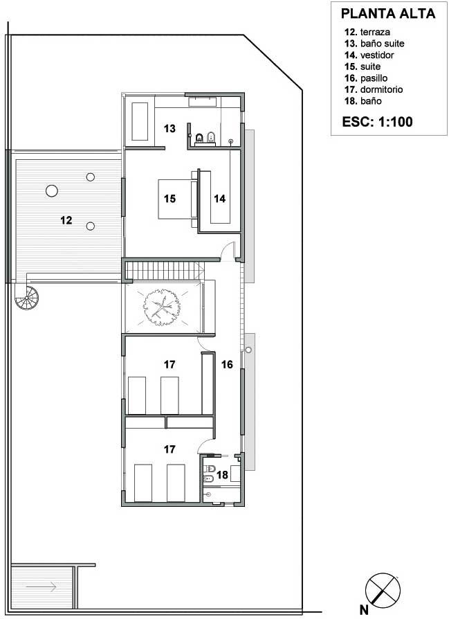 plano casa esquina dos plantas