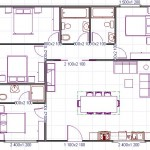Plano de casa cuadrada de 4 habitaciones