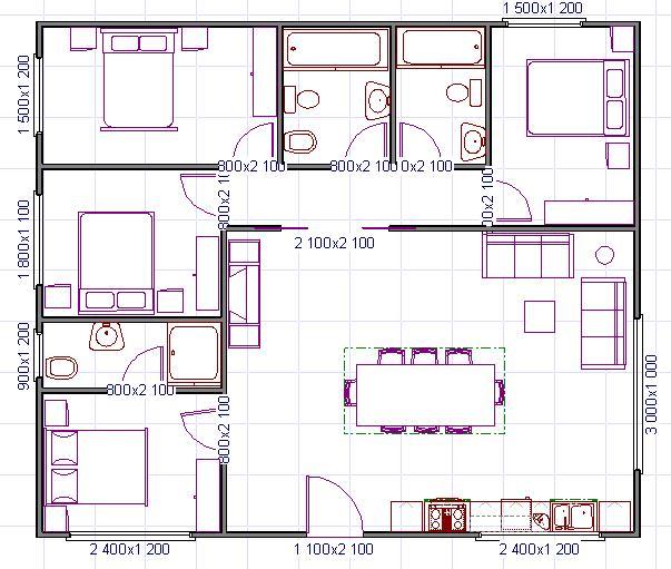 Plano de casa cuadrada de 4 habitaciones for Planos de casa habitacion