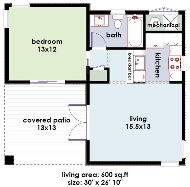 planos de casas 1 habitaciones