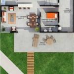 Plano de casa con habitacion para huéspedes