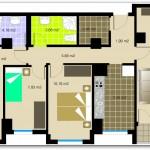 Plano del departamento de tres habitaciones