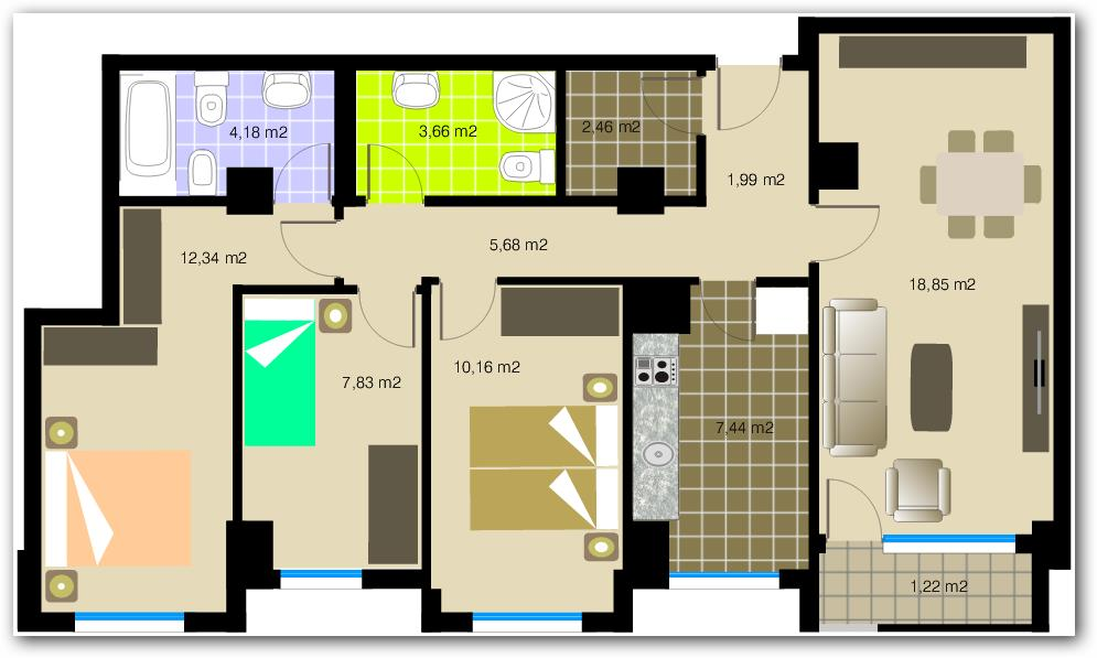 Departamento de tres habitaciones