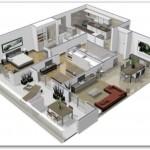 Plano de departamento moderno de 2 habitaciones