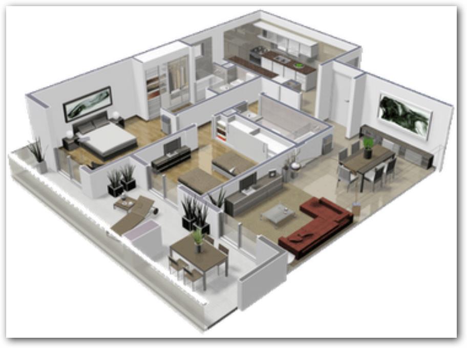 Planos de casas en 3d for Edificio de departamentos planos