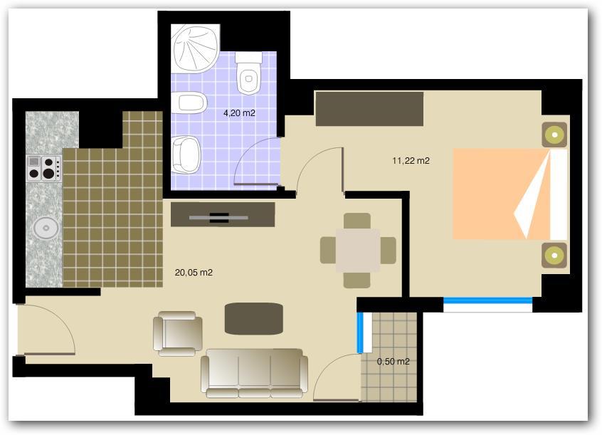 Plano de departamento de 36 metros cuadrados for Distribucion de apartamentos de 40 metros